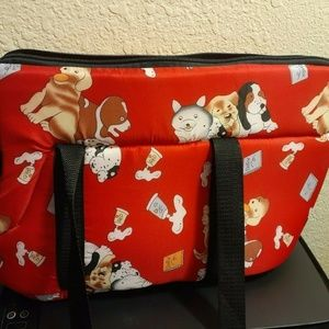 Bright Red Dog or Cat Carrier with Screen Opening